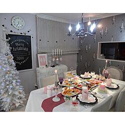 部屋全体/クリスマスパーティー/クリスマスディナー/テーブルコーディネート/壁紙ランチョンマット...などのインテリア実例 - 2016-12-25 08:07:45