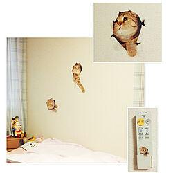 ベッド周り/こども部屋/猫/ウォールステッカーのインテリア実例 - 2017-12-08 17:49:03