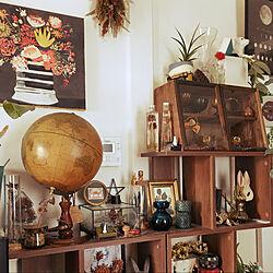 観葉植物/うさぎ雑貨/地球儀/ディスプレイコーナー/ひとり暮らし...などのインテリア実例 - 2020-03-26 20:05:55