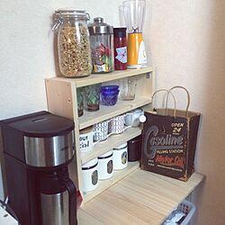 キッチン/マグカップ/コーヒーメーカー/DIY/棚 DIY...などのインテリア実例 - 2016-04-02 00:53:21