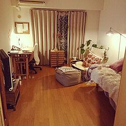 部屋全体/一人暮らし/1K/クッション/緑のある生活...などのインテリア実例 - 2020-04-07 18:47:29