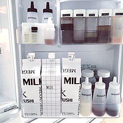 キッチン/メグミルク/牛乳パックカバー/ドアポケット/冷蔵庫収納...などのインテリア実例 - 2016-04-07 16:51:27