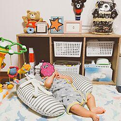 リビング/100均/カラーボックス/赤ちゃんのいる暮らし/赤ちゃんスペース...などのインテリア実例 - 2016-08-26 10:11:04