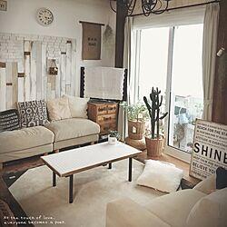 リビング/無印良品のソファ/大掃除を兼ねて/オットマン/向かい合って座れるようにしましたのインテリア実例 - 2015-12-23 15:25:53