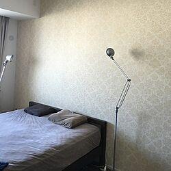 ベッド周り/天井照明なし/wall paper beauty/剥がせる壁紙/アクセントクロス...などのインテリア実例 - 2015-10-28 08:22:45