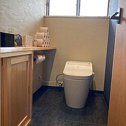造作棚/真鍮トイレットペーパーホルダー/アラウーノ/サンワカンパニー 手洗い器/壁紙...などのインテリア実例 - 2021-08-11 12:27:26