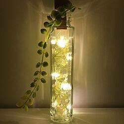 長いガラス瓶/ウォームホワイト色/小花の造花/コルク栓型LEDジュエリーライト/セリアのジュエリーライト...などのインテリア実例 - 2020-08-09 07:32:33