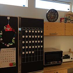 キッチン/ダイソー/セリア/万年カレンダー/黒板シート...などのインテリア実例 - 2017-12-22 15:17:31