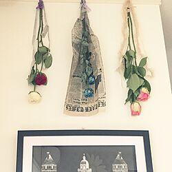 壁/天井/お花のある暮らし/アートフレーム/英字ペーパー/自家製ドライフラワー...などのインテリア実例 - 2015-09-16 16:06:34