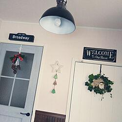 玄関/入り口/クリスマス/サンタさん陶器プレート/いいね&フォローありがとうございます☆/写真がうまく撮れるようになりたい♡...などのインテリア実例 - 2017-11-25 14:50:55