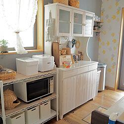 電子レンジ/カップボード/お米収納/米びつ/炊飯器...などのインテリア実例 - 2019-08-24 17:38:04