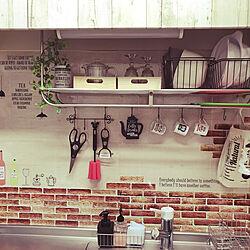 キッチン/キッチンリメイク/アイアン/ウォールステッカー/お気に入りの場所...などのインテリア実例 - 2019-01-23 02:58:07