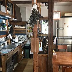 キッチン/ねこと暮らす。/賃貸/古民家風インテリア/DIY...などのインテリア実例 - 2017-09-26 22:43:11