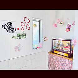 DAISO花柄暖簾/kimuraruさんのペパナプポンポン/zenoさんのスイッチカバー/ウォールデコレーション/kimuraruさんのさげもん...などのインテリア実例 - 2021-02-28 15:08:20