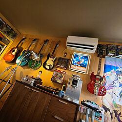 ベッド周り/ギターインテリア/ギターのある部屋/黄色/壁美人...などのインテリア実例 - 2021-09-17 12:45:57