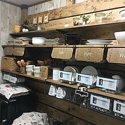 アンティークワイヤーバスケット/カフェ風インテリア/ディアウォール/キッチン雑貨/板壁DIY...などのインテリア実例 - 2019-09-23 20:53:25