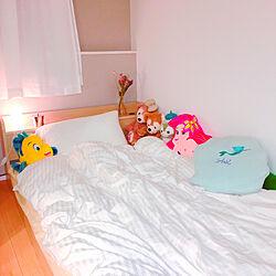 ベッド周り/ホワイト/ムードランプ/照明/disney...などのインテリア実例 - 2017-10-05 00:36:59