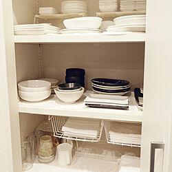 キッチン/食器棚/キッチン収納/シンプル/つっぱり棒...などのインテリア実例 - 2017-08-13 13:57:00