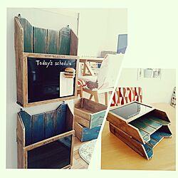 机/セリアのブラックボード/レターラック/すのこDIY/子供と暮らす。のインテリア実例 - 2015-10-21 11:23:33