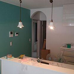 キッチン/アーチ壁/水色の壁紙のインテリア実例 - 2016-07-27 21:26:38
