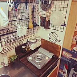 キッチン/DIY/狭いキッチン/賃貸物件/100均すのこ...などのインテリア実例 - 2018-10-19 23:51:10