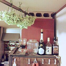 キッチン/冷蔵庫上/おはようございます+*。/ブログやってます♡/アジサイ乾燥中♪...などのインテリア実例 - 2014-07-06 08:40:24