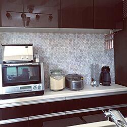 オーブントースター/炊飯器/ライスストッカー/電子レンジ/壁紙...などのインテリア実例 - 2015-10-09 12:24:30
