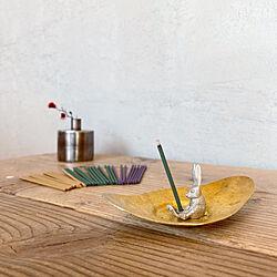 お香立て/真鍮のお皿/お香/癒しセット/無垢材...などのインテリア実例 - 2021-02-19 17:10:51