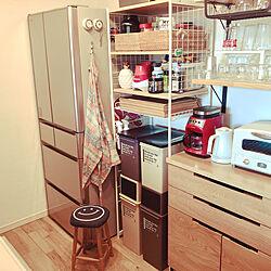 冷蔵庫の横/カップボード/ノコノコキッチン/スタッキング/マンション暮らし...などのインテリア実例 - 2020-11-12 18:57:11