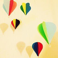 壁/天井/モビール/100均/手作り/気球のインテリア実例 - 2014-03-05 20:14:23