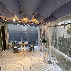 DIY/蚊帳カーテン/蚊帳/雑貨好き/ウッドデッキのある暮らし...などのインテリア実例 - 2021-06-16 18:53:28