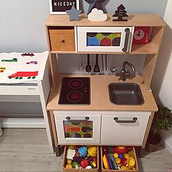 IKEAおままごとキッチン/ラタンバスケット/無印良品/組み合わせ/こどものいる暮らし...などのインテリア実例 - 2019-12-10 23:36:40