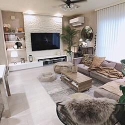 65インチテレビ/IKEA/フローリング張り替え/DIY/ディスプレイ棚...などのインテリア実例 - 2021-03-06 16:58:05