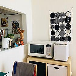 キッチン/IKEA紙箱/白い家電/マリメッコ 生地/電子レンジ...などのインテリア実例 - 2018-08-08 13:33:27