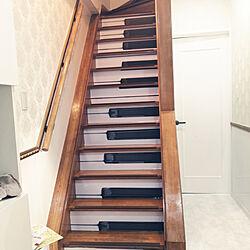 玄関/入り口/ピアノ/階段/リメイクシート/壁紙...などのインテリア実例 - 2020-02-11 16:05:03