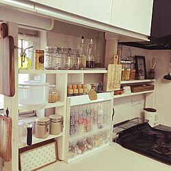 キッチン/DIY初心者/ディアウォール DIY/はじめましてよろしくお願いいたします/建て売りだけど…可愛くしたい(^^;...などのインテリア実例 - 2017-02-08 09:56:34