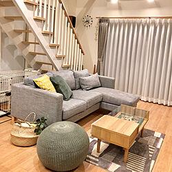 リビング/プフ/ケユカカーテン/グレーインテリア/IKEAのソファー...などのインテリア実例 - 2018-03-17 21:00:10