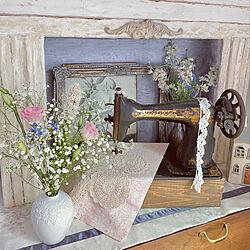 アンティークレース/シンガーミシン/マントルピース風DIY/マントルピース風/ノリタケの花器...などのインテリア実例 - 2021-06-20 20:46:30