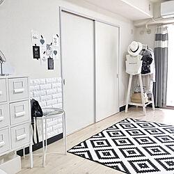 リビング/monotoneinterior/IKEA/Black&White/White...などのインテリア実例 - 2017-09-19 12:44:33