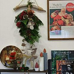 棚/クリスマス/季節を楽しむ暮らし/コーギーのいる暮らし/野ばらの実の枝...などのインテリア実例 - 2019-12-02 22:29:23