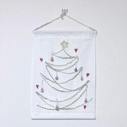 手作りタペストリー/クリスマスツリー/クリスマス/100均/ダイソー...などのインテリア実例 - 2020-11-02 17:36:44