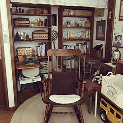 ロッキングチェア/揺り椅子/古い回転椅子/本棚DIY/古道具好き...などのインテリア実例 - 2020-01-10 07:06:36