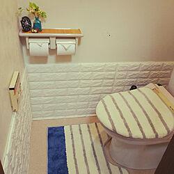 バス/トイレ/壁紙/クッションレンガシート/ダイソー/トイレの壁...などのインテリア実例 - 2017-09-09 17:52:36