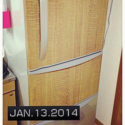 キッチン/冷蔵庫/カッティングシート/100均/セリア...などのインテリア実例 - 2014-01-13 15:55:04