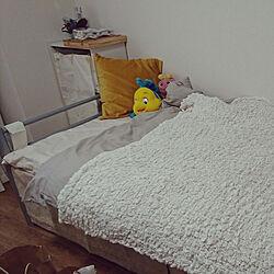 ベッド周り/IKEA/グレー×イエロー/リトルマーメイド/がんこちゃん...などのインテリア実例 - 2019-10-31 07:02:27