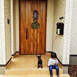 玄関/入り口/わが家のドア/ミニピン/認めたくないがサクちゃんはおバカ/こどものいる暮らし...などのインテリア実例 - 2020-10-14 14:01:29