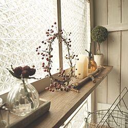 なんちゃって窓枠/秋のインテリア/DIY板壁のインテリア実例 - 2013-09-01 12:13:32