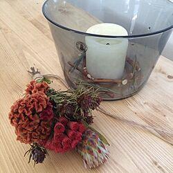 机/キャンドル/ダイニングテーブル/ドライフラワー/bouquetのインテリア実例 - 2013-11-09 16:45:49