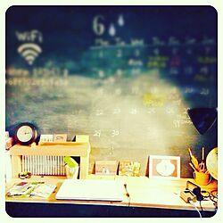 机/黒板/一人暮らし/DIY/照明のインテリア実例 - 2015-06-05 15:30:20