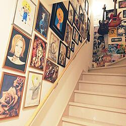 アートギャラリー/階段ギャラリー/賃貸でも楽しく♪/狭い部屋でもインテリアを楽しむ/階段の壁...などのインテリア実例 - 2020-10-14 16:44:06